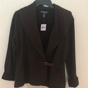 Ralph Lauren blazer/cardigan w/leather belt latch.